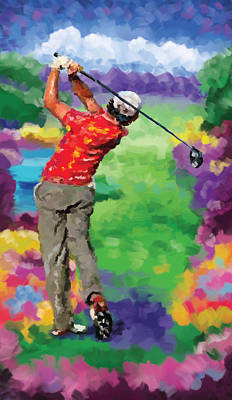 Ernie Els Wall Art - Painting - Golfer 2 by Tim Gilliland