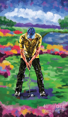 Ernie Els Wall Art - Painting - Golfer 4 by Tim Gilliland