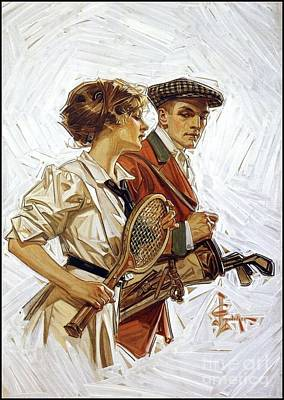 Tennis Players Painting - Golfer And Tennis Player by MotionAge Designs