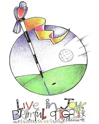 Painting - Golfer - Brimful Of Joy - Mmboj by Br Mickey McGrath OSFS