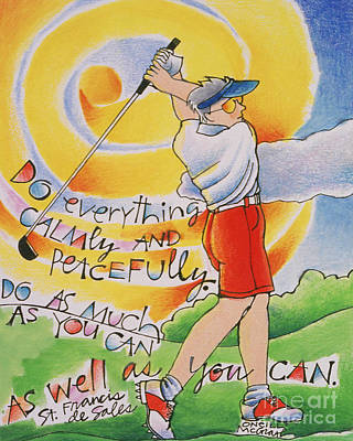 Painting - Golfer - Do Everything Calmly - Mmglf4 by Br Mickey McGrath OSFS