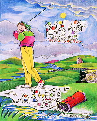 Painting - Golfer - Do Not Lose Your Inner Peace - Mmglf3 by Br Mickey McGrath OSFS