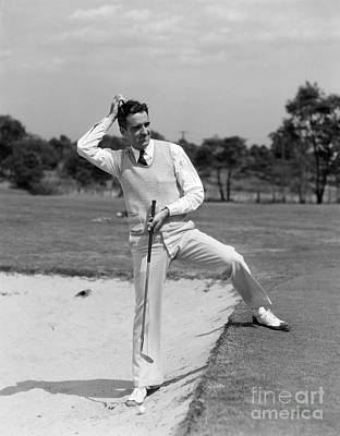 Golfer In Sand Trap, C.1930s Art Print