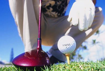 Golfer Sets Up His Shot Art Print