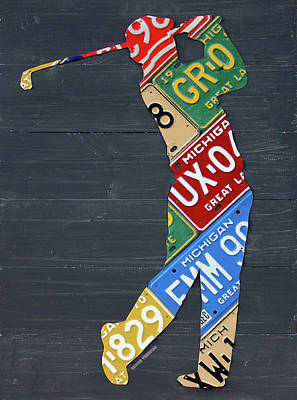 Sports Mixed Media - Golfer Silhouette Recycled Vintage Michigan License Plate Art by Design Turnpike