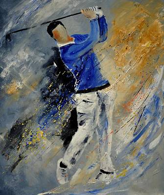 Sports Paintings - Golfplayer by Pol Ledent