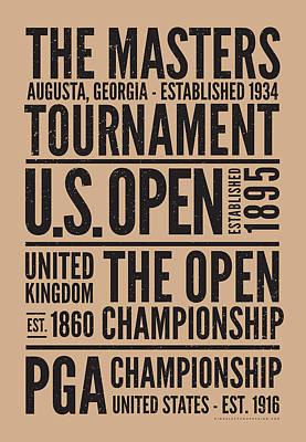 Golf's 4 Grand Slams Art Print by Mark Kingsley Brown