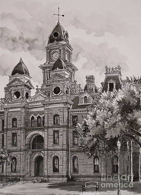 Texas Drawing - Goliad County Courthouse by Karen Boudreaux