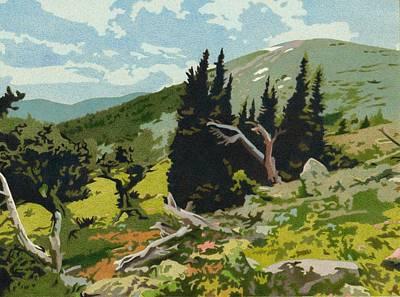 Drawing - Goliath Peak by Dan Miller