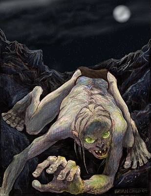 Gollum Descends Art Print by Brian Child