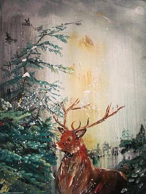 Painting - Golly's Stag by Susan Snow Voidets