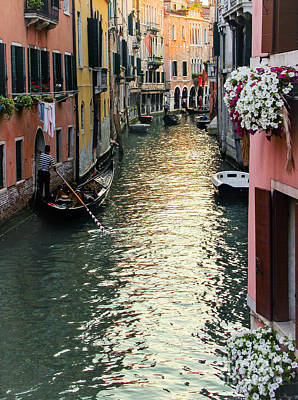 Floating Box Photograph - Gondola And Flower Boxes by Amy Sorvillo
