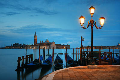 Photograph - Gondola And San Giorgio Maggiore Island Early Morning by Songquan Deng