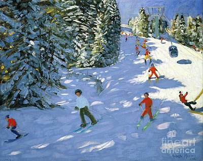 Ski Resort Painting - Gondola Austrian Alps by Andrew macara