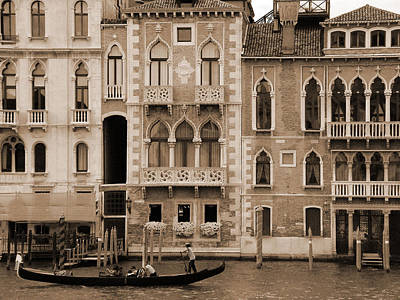 Gondola Crossing Grand Canal Print by Donna Corless