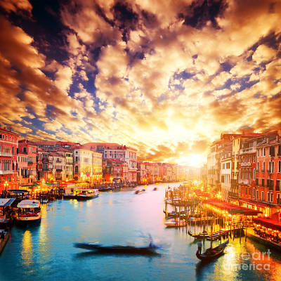 Photograph - Gondola Floats On Grand Canal At Romantic Sunset by Michal Bednarek