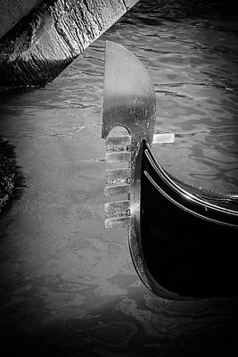 Photograph - Gondola In Black And White by Alexis Lee Scott