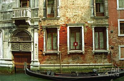 Gondola In Front Of House In Venice Art Print by Michael Henderson