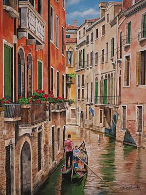 Venetian Balcony Painting - Gondola In Venice by Bill Dunkley
