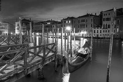 Photograph - Gondola In Venice Black And White  by John McGraw