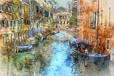 History Channel Digital Art - Gondola In Venice, Italy by Brandon Bourdages