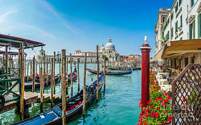 Photograph - Gondola On Canal Grande With Basilica Di Santa Maria, Venice by JR Photography