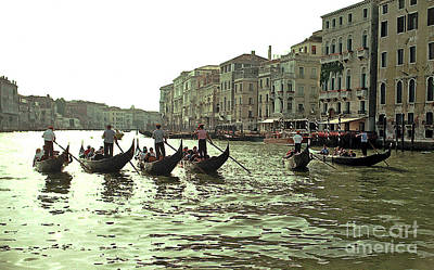 Photograph - Gondola Race In The Grand Canal by Tom Wurl
