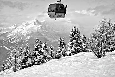 Photograph - Gondola Ride Into The Canadian Rockies Black And White by Adam Jewell