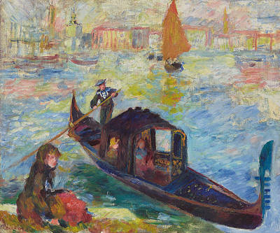 Edge Painting - Gondola  Venice by Pierre Auguste Renoir