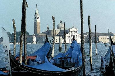 Digital Art - Gondolas Across San Giorgio by Donna Corless