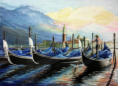Painting - Gondolas At Dawn by Carolyn Coffey Wallace