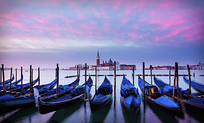 Photograph - Gondolas At Dawn - Venice by Barry O Carroll