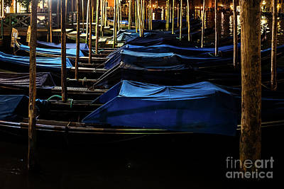 Photograph - Gondolas At Night by Miles Whittingham
