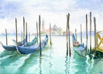 Gondolas At Piazza San Marco Art Print by Michelle Sheppard