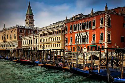 Gondolas At San Marco Art Print by Andrew Soundarajan