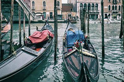 Photograph - Gondolas By The Rialto by Georgia Fowler