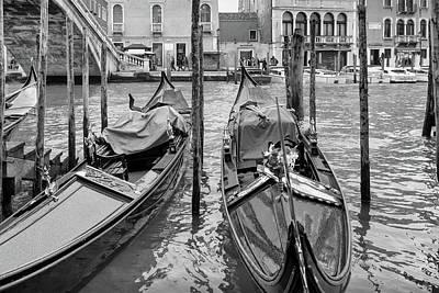Photograph - Gondolas By The Rialto In Mono by Georgia Fowler