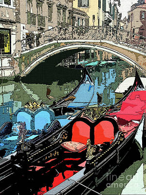 Pen Photograph - Gondolas Fresco  by Mindy Newman