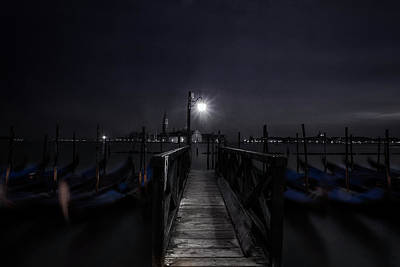 Gondolas In The Night Art Print by Andrew Soundarajan