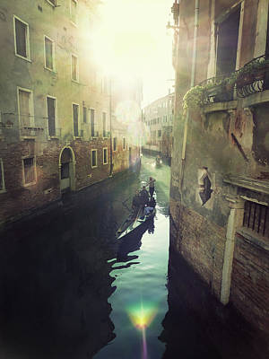 Gondolas In Venice Against Sun Art Print by Marco Misuri
