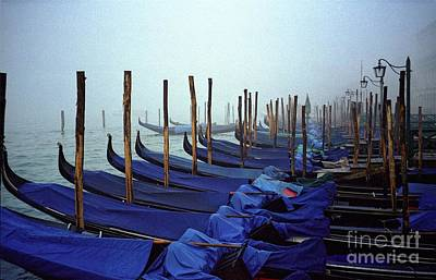 Gondolas In Venice In The Morning Art Print by Michael Henderson