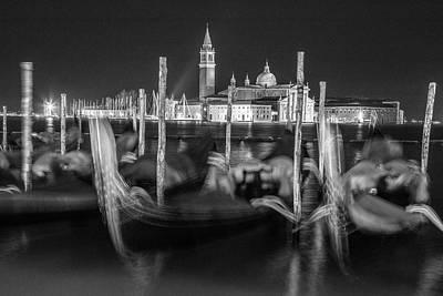 Photograph - Gondolas In Venice Italy At Night  by John McGraw