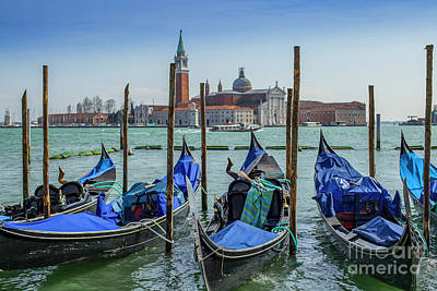 Photograph - Gondolas In Vernice With San Giorgio Di Maggiore Church by Patricia Hofmeester