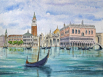 Gondolas Near Piazza San Marco In Venice Italy Art Print by Bonnie Sue Schwartz