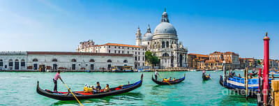 Photograph - Gondolas On Canal Grande With Basilica Di Santa Maria, Venice, Italy by JR Photography
