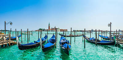 Photograph - Gondolas On Canal Grande With San Giorgio Maggiore, Venice, Ital by JR Photography