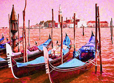 Photograph - Gondolas On The Grand Canal by Allen Beatty