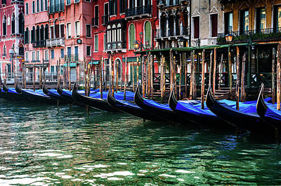 Photograph - Gondolas On The Grand Canal by M G Whittingham