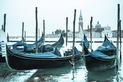Gondolas On The Venice Lagoon Art Print