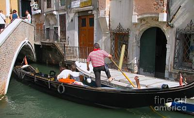 Photograph - Gondolier By The Bridge- Venice by Italian Art